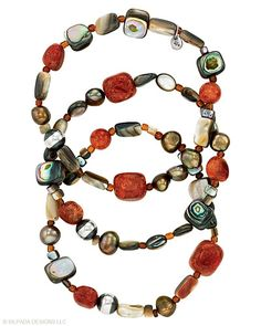 """Three Sterling Silver, Coral, Pearl and Shell Stretch Bracelets set hearts afire. Fits up to a 7"""" wrist."""