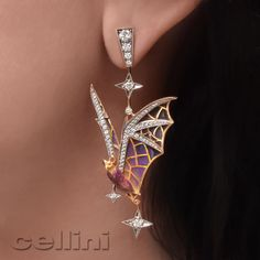 For those who march to the beat of your own drum are these fantastic Masriera enameled Bat Earrings!  Available at Cellini Jewelers NYC