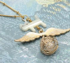 Sweet Flying Dream Love Cat Necklace Goldplated by Prettybox4her, $20.00