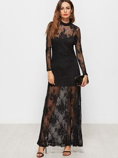 Shop Black Mock Neck Flower Embroidered Lace Dress With Cami online. SheIn offers Black Mock Neck Flower Embroidered Lace Dress With Cami & more to fit your fashionable needs.