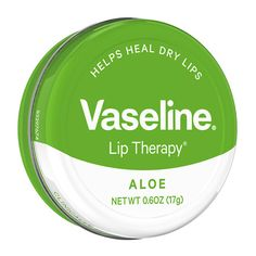 Vaseline® Lip Therapy® Aloe Lip Balm Tin formula is clinically proven to heal dry lips and contains a fresh, aloe scent, presented in a green steel tin. Aloe Vera Lip Balm, Aloe Lips, Vaseline Lip, Vaseline Jelly, Lipstick Tutorial, Cracked Lips, Smooth Lips, Dry Lips, Dry Skin