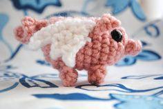 Yes I knew it!  Flying Oink Tinyumi  Amigurumi Crochet Pig by StitchesAndStuffing, $8.00