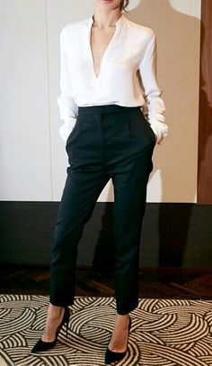 yes please! high waist thin leg big low vneck black and white! love every detail about this