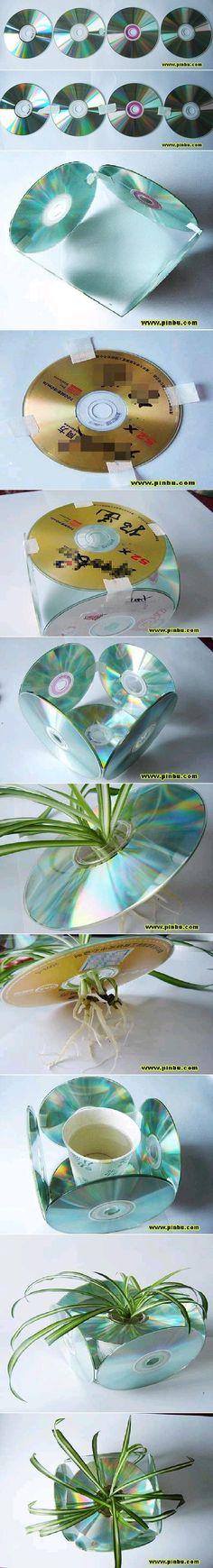 DIY CD Flower Pot