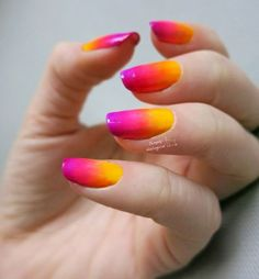Wonderful combination of yellow red and violet color gradients. nail art designs 2019 nail designs for short nails 2019 best nail stickers nail art stickers how to apply best nail polish strips 2019 Nail Art Yellow, Neon Orange Nails, Pink Ombre Nails, Gradient Nails, Orange Pink, Purple, Galaxy Nails, Gel Nails, Nail Art Designs