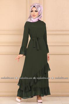 moda selvim Fırfır Detay Kemerli Elbise 5020EF311 Haki The Dress, Dress Skirt, Kurti, Designer Dresses, Couture, Womens Fashion, Collection, Dress, Formal Skirt