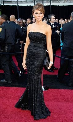 The first lady-elect exuded Hollywood glamour in a shimmering strapless black gown at 2011 Academy Awards.