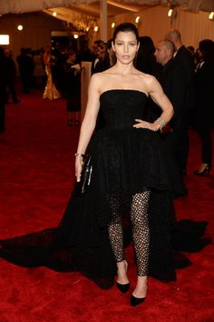 Jessica Biel chose a sheer Giambattista Valli Haute Couture gown for the Met Gala!