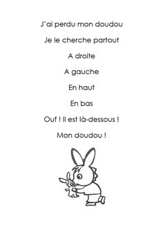 j ai un doudou French Language Lessons, French Language Learning, French Lessons, French Poems, French Quotes, Core French, French Class, French Teaching Resources, Teaching French