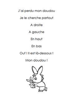 j ai un doudou French Teaching Resources, Teaching French, Core French, French Class, French Language Lessons, French Lessons, French Prepositions, French Poems, French Alphabet