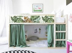 IKEA KURA BED removable stickers tropical leaves (Ikea nursery decals Furniture stickers Furniture decal set Children& decor K 35 Ikea Nursery, Ikea Bedroom, Girls Bedroom, Nursery Decals, Lego Bedroom, Bed Ikea, Bedroom Ideas, Ikea Childrens Bedroom, Teen Girl Bedding