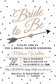 Rose Gold Bridal Shower Invitation Black and by DesignsByJessieV