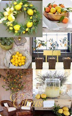 Lemon wreath for kitchen decor Lemon Kitchen Decor, Kitchen Decor Themes, Home Decor, Design Seeds, Eames, Estilo Interior, Dining Room Lighting, Decorating Tips, Lemon Decorating