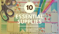Are you overwhelmed by all of the books and school supplies that you have in your homeschool? Here are 10 essential supplies to organize your homeschool.