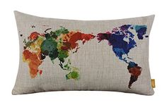 """LINKWELL 20"""" x 12"""" Modern Fashion Watercolor World Map Colorful Burlap Pillow Cases Cushion Covers"""