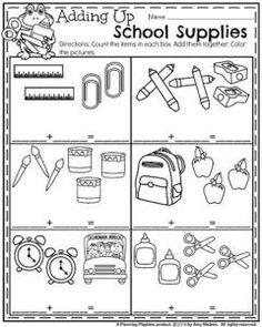 Back to School Kindergarten Worksheets - School Supplies Addition