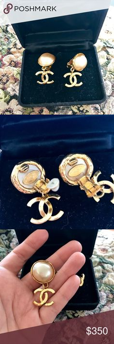 Auth. Chanel Clip On Earrings I got these appraised by my local jeweler and these are authentic. A perfect vintage statement. CHANEL Jewelry Earrings
