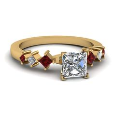yellow-gold-princess-white-diamond-engagement-wedding-ring-red-ruby-in-prong-