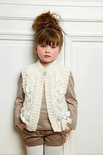 Ravelry: 45 - Vest pattern by Bergère de FranceI like the use of ribbon with knitting. 45 - Vest by Bergère de FranceLove this sweater vest - Bergere De France Mag 163 - # 45 - VestSo pretty, this girly vest is decorated with a satin ribbon threade Diy Crafts Knitting, Knitting Blogs, Knitting For Kids, Knitting Patterns Free, Free Knitting, Baby Knitting, Knitting Ideas, Crochet Girls, Knit Crochet