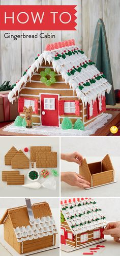 Enjoy the great outdoors as you stay warm inside and decorate a gingerbread cabin. It is fun for the entire family and includes imprinted gingerbread for easy decorating, icing, fondant, candy, and a reindeer icing decoration! #wiltoncakes #gingerbreadhouse #gingerbreadhousetechniques #gingerbreadhouseparty #gingerbreaddesign #gingerbreadhouses #candy #gingerbreadhouseideas #gingerbreadhousedecorating