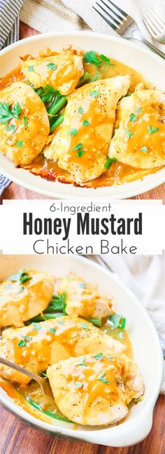 This 6 ingredient honey mustard chicken bake recipe bakes juicy chicken breasts and fresh vegetables in a thick and dreamy honey mustard glaze that will leave you wanting to lick your plate! Only 6 ingredients and 3 super simple steps stand between you and dinner! via @blessherheartya