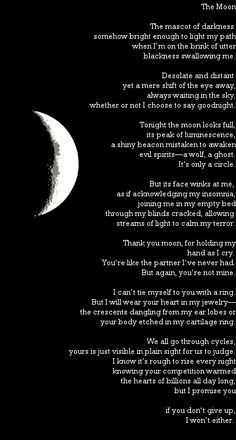 An introspective poem about the moon. Moon Poems, Moon Quotes, Poems About The Moon, Poems About Stars, Poetry Quotes, Words Quotes, Life Quotes, Sayings, Hurt Quotes