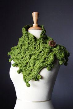 Hand knit scarf   Green / Avocado neckwarmer / wrap /  cowl epictt teamb