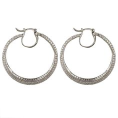 Sterling Silver Sparkling Hoop Earring White CZ
