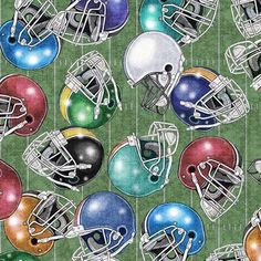 Football Helmets on Green Fabric / Gridiron 26176 G Quilting Treasures / Football Fabric / Fat Quarters and Yardage / Football by the yard by SewWhatQuiltShop on Etsy