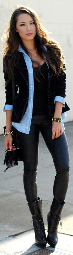 black tank top + sky blue polo shirt + black blazer + leather pants