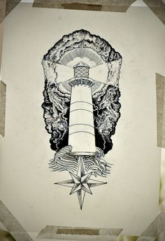 Great lighthouse tattoo sketch