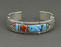 Silver Multi-Stone Inlay Bracelet by Raymond Yazzie (Navajo)