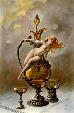 Luis Ricardo Falero (Spanish 1851–1896) Tokaji, a nude female figure sitting on an ewer containing the amber-coloured wine; two cups at the bottom, 1887.