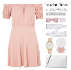 """Bardot dress & sneakers"" by anja-jovanovich ❤ liked on Polyvore featuring Topshop, Michael Kors, Vans, Nine West, Herbivore, J.W. Anderson, dress and SNEAKERSANDDRESSES"
