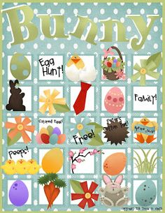 Bunny Bingo {Easter Bunny Games} If you are looking for some fun Easter games, Tricia has a ton of fun printable Easter games that you can can print out and… Easter Bingo, Easter Games, Easter Activities, Hoppy Easter, Senior Activities, Children Activities, Christmas Activities, Easter Eggs, Easter Crafts