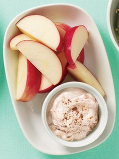 Apple With Spiced Yogurt Dip  Apples are free. Slice @ night and pack. May be able to score free yogurt too!
