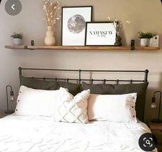 Bedroom Wall Decor Above Bed, Floating Shelves Bedroom, Room Ideas Bedroom, Above Headboard Decor, Shelving Over Bed, Shelf Over Bed, Bed Shelves, Wood Walls, Wood Wood