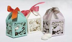 Romantic laser cut favor box - Love Birds
