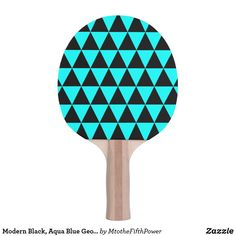 Modern Black, Aqua Blue Geometric Triangles Ping-Pong Paddle by M to the Fifth Power