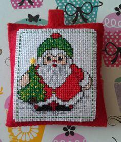 Handmade Santa Claus crossstitch Christmas by cheshirecat22, $10.00
