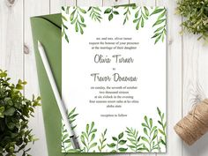 Watercolor Wedding Invitation Template Lovely by ShishkoTemplates