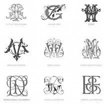 Bell'INVITO  intricate monograms are considered Category D when hand-illustration and extensive detail are involved in the making of the monogram.