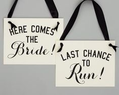 Two Wedding Signs Here Comes The Bride Just Wait Til You See | Etsy Rose Gold Ribbon, Grey Ribbon, Ribbon Colors, Funny Wedding Signs, Wedding Humor, Flower Girl Signs, Ring Bearer Signs, Second Weddings, Color Card