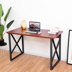 Wooden Writing Workstation PC #Laptop Table w/ Metal Leg