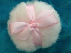 Baby Pink powder puff with pink bow, 4  inch body powder puff