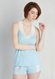 Play for Sleeps Pajamas. What youll wear for a night of beauty rest is worth taking seriously - and these pale blue pajamas are the real deal of comfort! #blue #modcloth