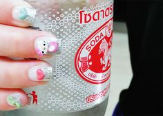 KAWAII NAIL ART! Hello Kitty, hearts, bows, etc!