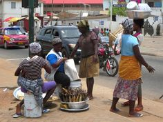 Ga women sell smoked fish by the roadside in Jamestown and Accra, Ghana. Capital Of Ghana, Accra, West Africa, Smoked Fish, African, Coastal, Map, Film, Awesome