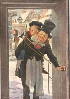 Jessie Willcox Smith, 1863-1935. Illustration for Dickens's Children: Tiny Tim and Bob Cratchit on Christmas Day. One of four illustrations from Scribner's Monthly Magazine for December 1910.