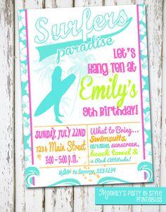 Surfer Girl  Birthday Invitation by Meghilys on Etsy, $8.00